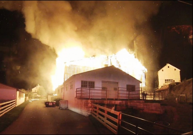2 alarm Barn fire in Leacock